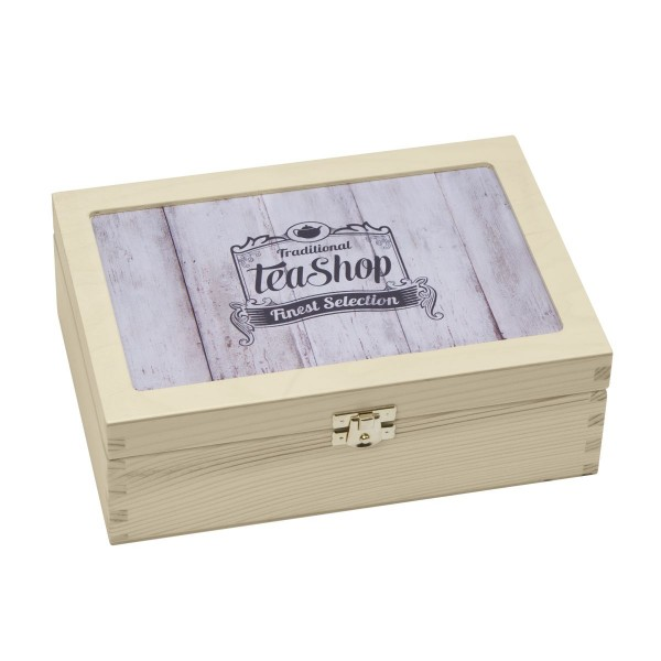 "Contento - Teebox ""Tea-Shop"" aus Holz (866380) Teedose Teeschachtel Vorratsbox"