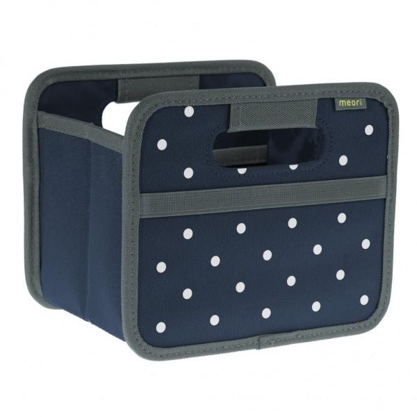 Meori - Faltbox Mini Aufbewahrungsbox Klappbox Marine Blau Punkte A100304