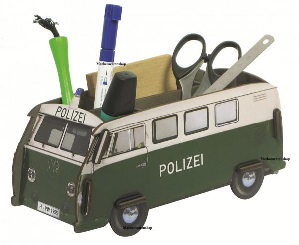Werkhaus Stiftebox Polizeiauto Bus VW Bulli T1 WE2013 Stifteköcher Stiftehalter