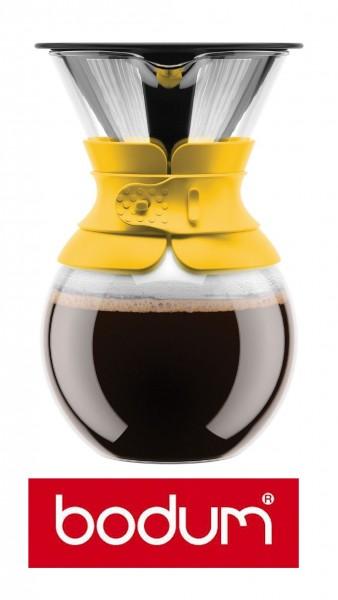 "Bodum Pour Over ""Gelb"" Kaffeebereiter mit Permanentfilter 1,0 Liter Kaffeefilter"