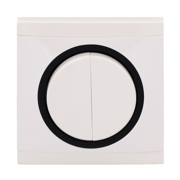 REV Ascoli weiß/schwarz Serienschalter m. Rahmen 925104 Lichtschalter Schalter