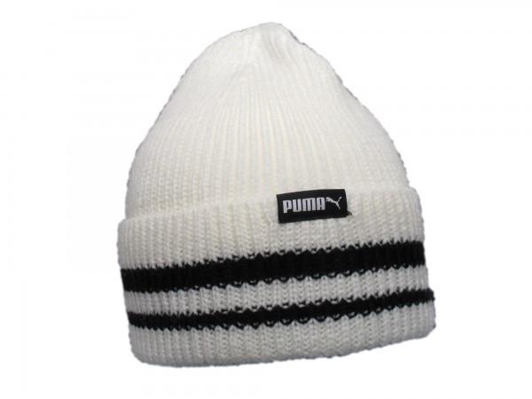 PUMA - Retro Beanie Mütze Wintermütze Strickmütze weiß