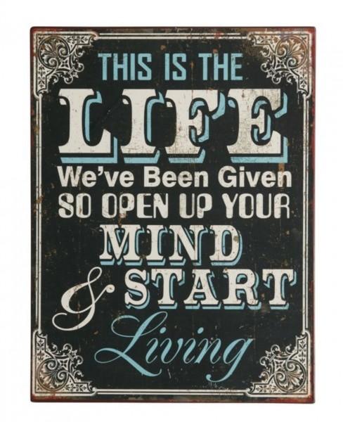 "EJA - Schild "" This Is The Life ..."" Wandschild Metallschild Shabby (1390301)"