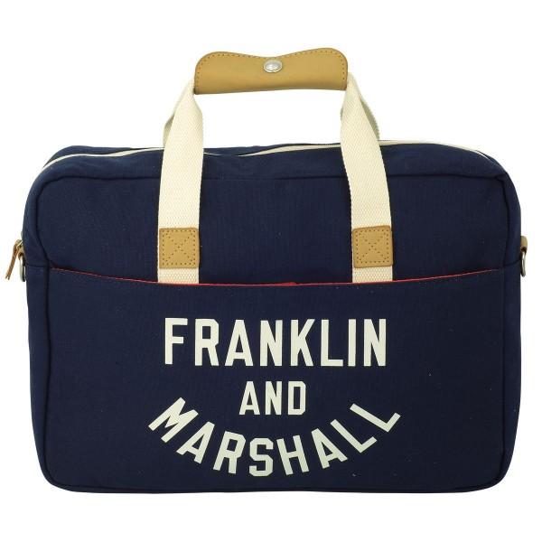 Franklin and Marshall - Umhängetasche Reporter Büro Tasche Leptoptasche Blau