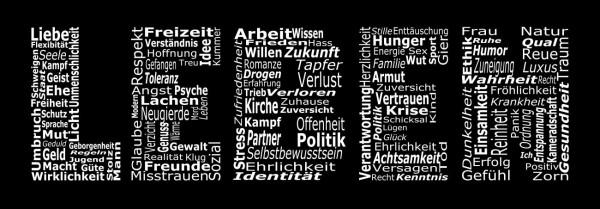 "Glasbild ""Leben"" 33x95cm Wandbild Glaswandbild schwarz weiß 11200"