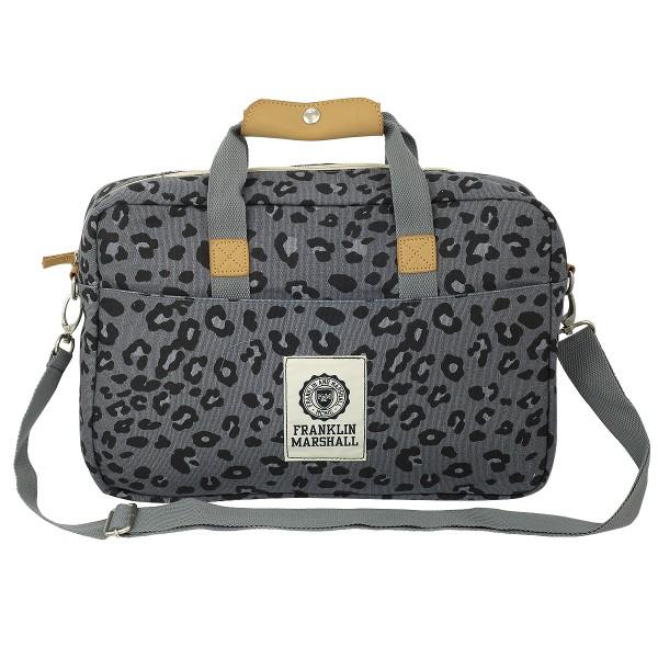 Franklin and Marshall - Umhängetasche Reporter Büro Tasche Leptoptasche Leopard