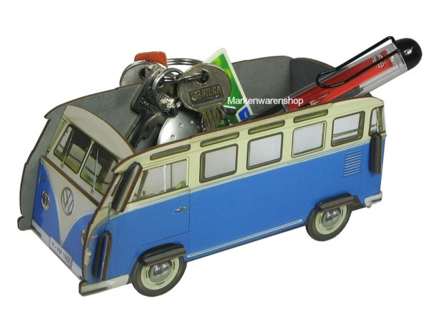 "Werkhaus - Minibox VW T1 Bus ""Bulli"" Blau (WH3005) Box Utensilienbox Stiftebox"