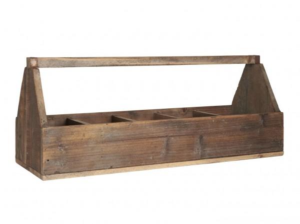 Ib Laursen - Holzkorb Holzkiste mit 5 Fächer und Henkel 5238-14 Korb Kiste Holz