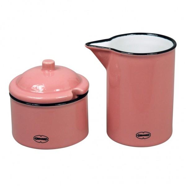Cabanaz - Milch Zucker Set Zuckerdose Milchkännchen pink 1201626