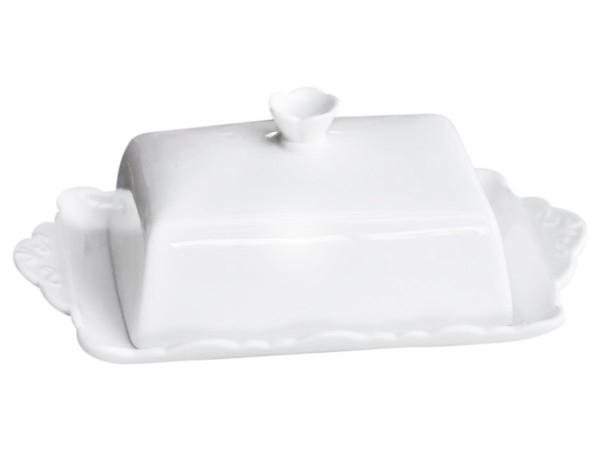 Butterdose Butterglocke Butterschale Porzellan Weiß Chic Antique 63094-01