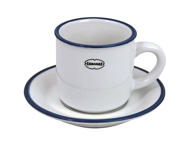 Cabanaz - Espressotasse mit Unterteller Weiß 1201702 Mokkatasse Moccatasse Weiss