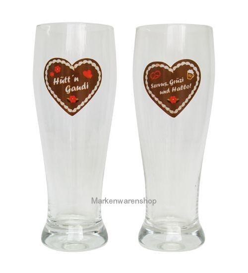 Trend Import - 2 Weizenbier-Gläser Hüttengaudi 10517300 Weizenbierglas Bierglas