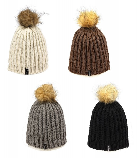 Farbe Wählbar - Strickmütze Fellbommel Mütze Wintermütze Bommelmütze Damen