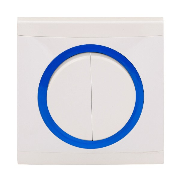 REV Ascoli weiß/blau Serienschalter m. Rahmen 925104 Lichtschalter Schalter