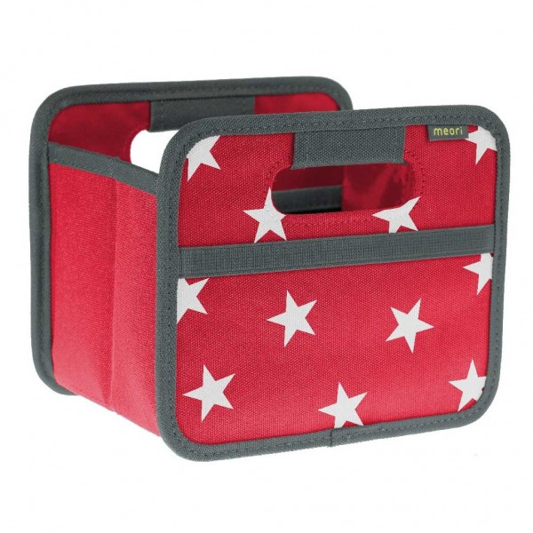 Meori - Faltbox Mini Aufbewahrungsbox Klappbox Hibiskus Rot Sterne A100306