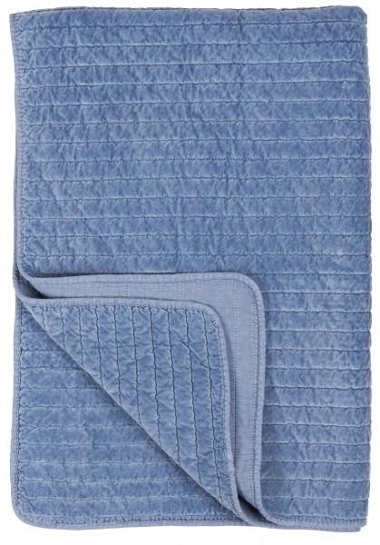 Laursen - Quilt Samt Kuschel- Tages- Decke Überwurf 6237- 13 - Blau