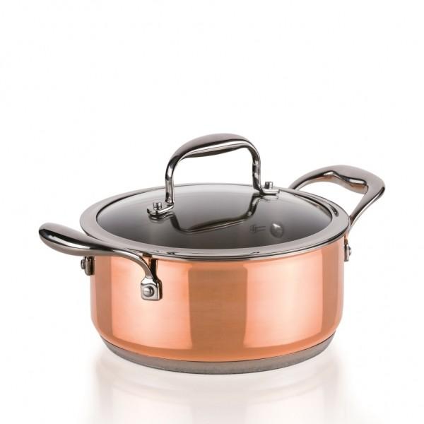 Genius - Copperfit Kupfer-Aluminium-Edelstahl Kochtopf mit Glasdeckel Ø20cm