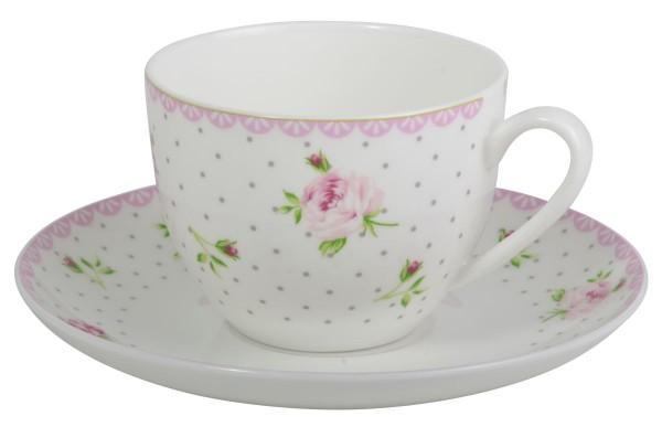 """Ib Laursen - Tasse mit Unterteller """"Cottage Rose"""" 2493-00 Kaffeetasse Untertasse"""