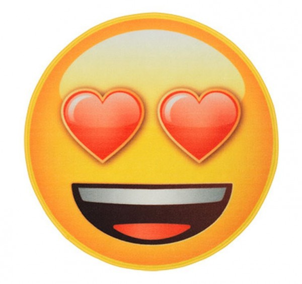 """Rockbites Teppich """"Emoji - Face Hearts"""" Ø 67cm Läufer Fuß- Schmutz- Matte 100928"""
