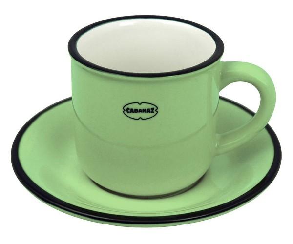 Cabanaz - Espressotasse mit Unterteller Grün 1201701 Mokkatasse Moccatasse Retro