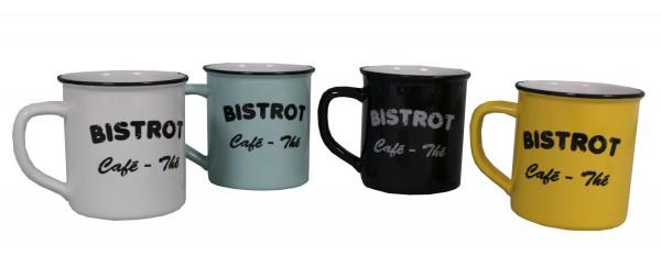 4er Set Tassen Kaffeetassen Teetasse Bistro Keramik 400ml Antic Line SEB14800