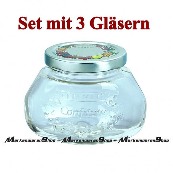 Leifheit 36003 Gelee-Glas 0,25 Liter - 3 Stück, Einkochglas, Einmachgläser
