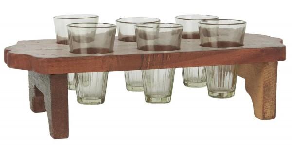 Blumenvasen Halter Holz Holztablett mit 6 Vasen UNIKA Ib Laursen 2108 00