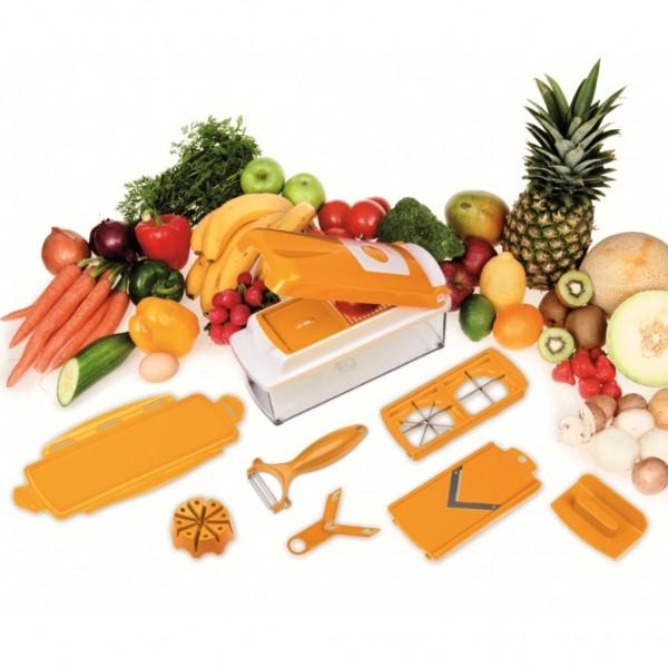 """Genius - Nicer Dicer Plus Gemüseschneider Multischneider """"Orange"""" 11-tlg."""