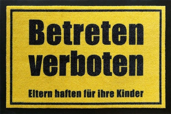 """Rockbites Fußmatte """"Betreten verboten"""" Gelb Türmatte Fußabstreifer 100952 Nr.95"""