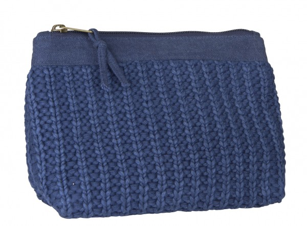 Ib Laursen - Kosmetikbeutel Strick blau 16cm x 25cm (6391-39) Kosmetiktasche