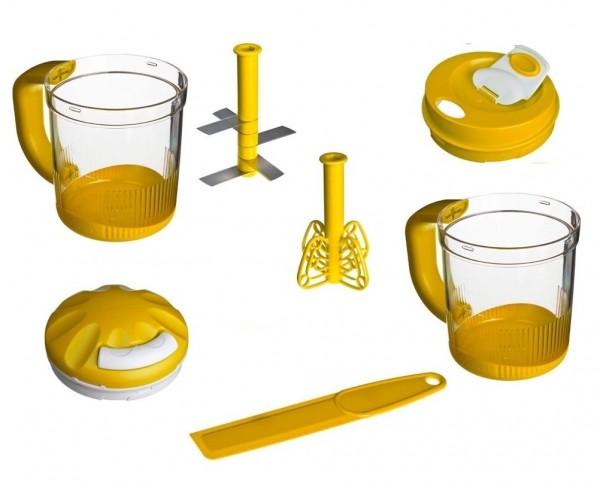 Genius Twist N' Joy Küchenmaschine Mixer Milchaufschäumer Quirl goldgelb 7 tlg.