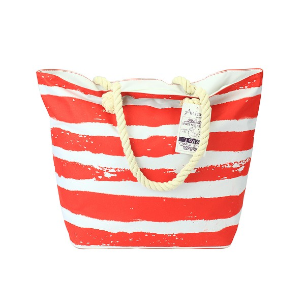 Antonio - Strandtasche Summer-Time Rot Weiß gestreift Badetasche Tasche Nr. 40