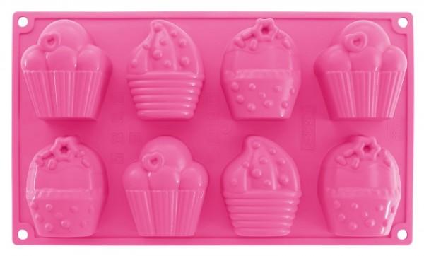 Dr. Oetker - 8er Cupcakes Backform (1595) Pink Muffin- Silikon- Motiv- Back Form