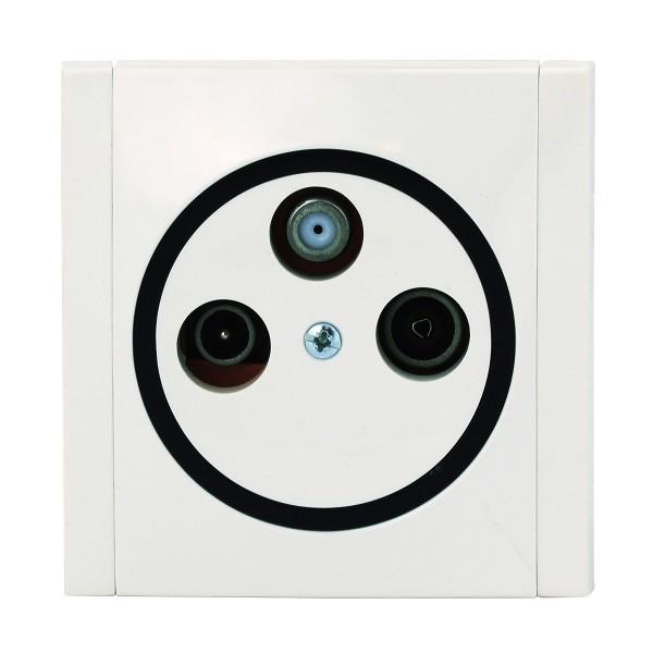 REV Ascoli weiß/schwarz Antennen-Dose Sat-Dose Dose inkl. Rahmen 922204
