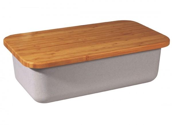 Zuperzozial - Brotkasten mit Schneidebrett Grau 1400307 Bio abbaubar Brotbox Box