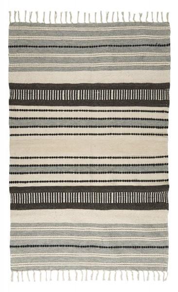 Teppich Läufer Grau Natur gestreift 120x180cm Baumwolle Wolle Ib Laursen 6439-00
