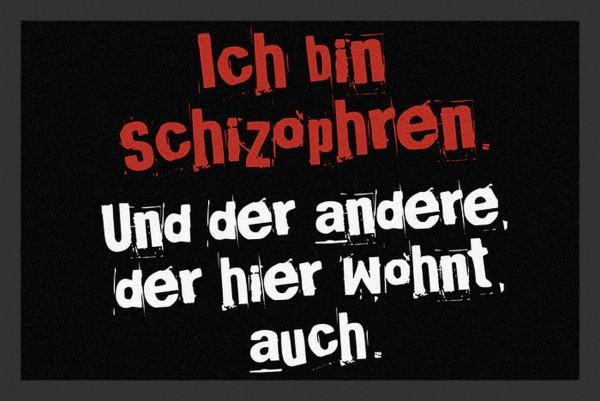 """Rockbites - Fußmatte """"Ich Bin Schizophren ..."""" Schwarz Nr.165 (100804) Türmatte"""