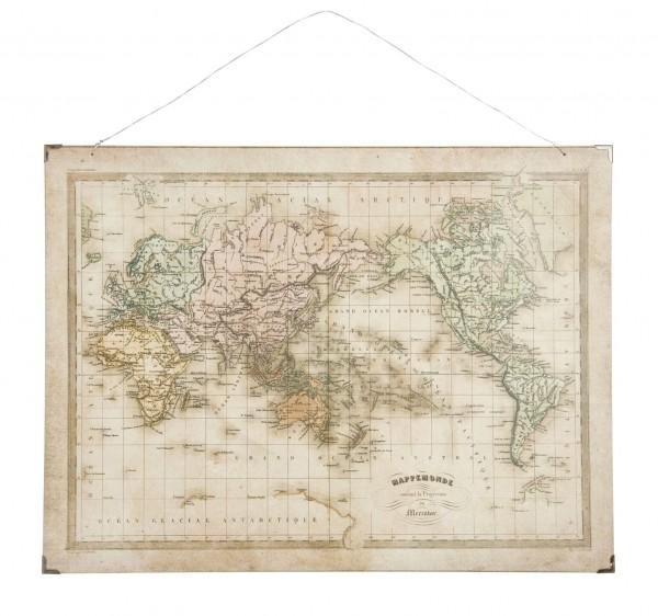 Ib Laursen - Wandbild Weltkarte Papier auf Holzdruck Vintage Bild (8246-00)