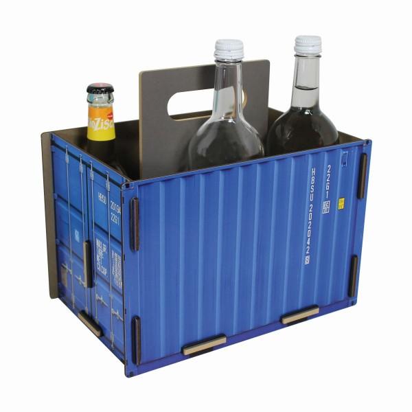 "Werkhaus - Sixpack ""Container"" Blau Flaschenträger Flaschenkorb Holz (CO1501)"