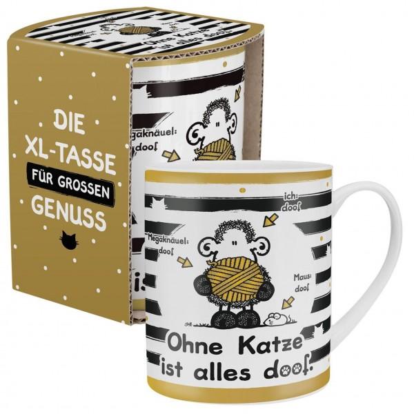 """Sheepworld - XL Kaffee- Tasse """"Ohne Katze ist alles doof"""" 0,6l OKIAD (45991)"""