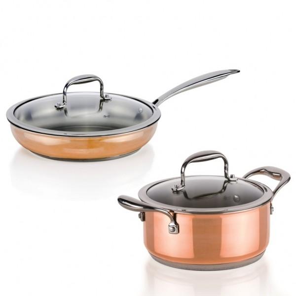 Genius - Copperfit Kupfer-Aluminium-Edelstahl Kochtopf Pfannen Set 4-tlg. Ø20+24