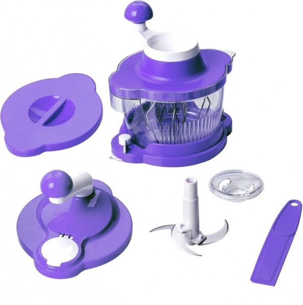 Genius - Mixer 21253 Cutter Multitalent 6 tlg. lila Küchenmaschine Rührgerät