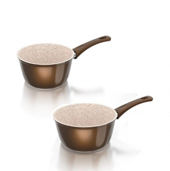 Genius - Cerafit Granit Topf Set 2-tlg Stielkasserolle Ø18+Ø16 Keramik Kochtopf