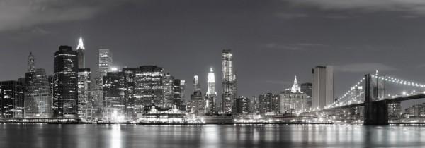 WOW Auswahl Glasbild 95x33cm Glasbild Wandbild Bild Echtglasbild NY Brücke 2047-28