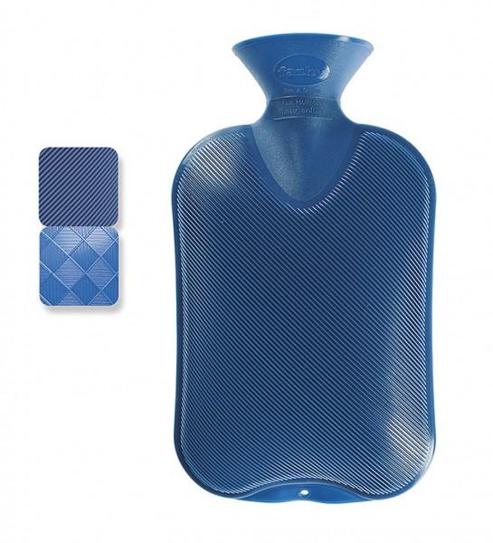 Wärmflasche Kunststoff Blau Halblamelle 2 verschiedene Seiten 2L Fashy 6440-54