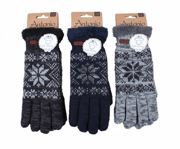 Handschuhe Strickhandschuhe Herren One Size Teddy-Innenfutter Norwegermuster