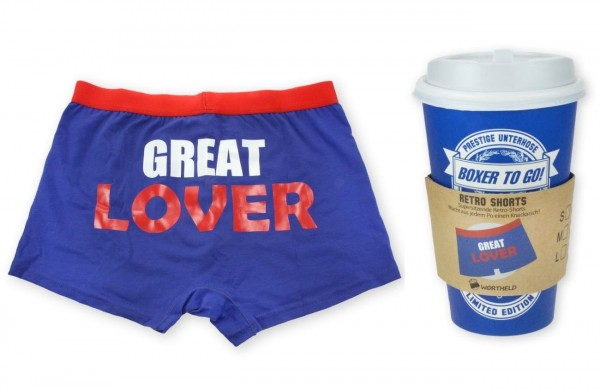 "Wortheld - Boxershort To Go ""Great Lover"" Gr.L 43023 Unterhose Sheepworld lustig"