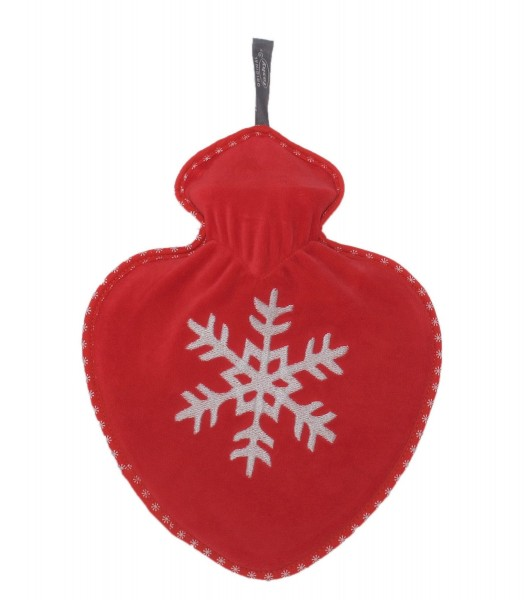 Wärmflasche Herzwärmflasche Herzform Herz Bezug Schneeflocke Rot Fashy 65100