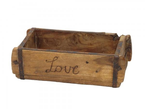 "Laursen Ziegelform ""Love"" Unika alte Backsteinform Holz Box Kiste"