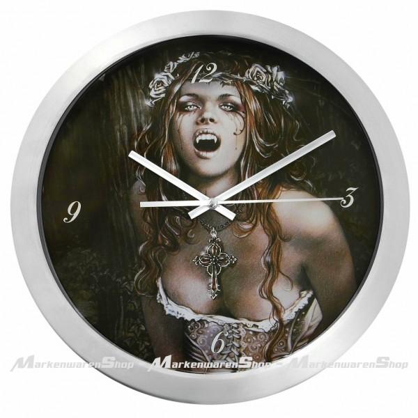 Victoria Frances Wanduhr Vampire Girl aus Metall Ø30, Uhr, Wall Clock, Gothic